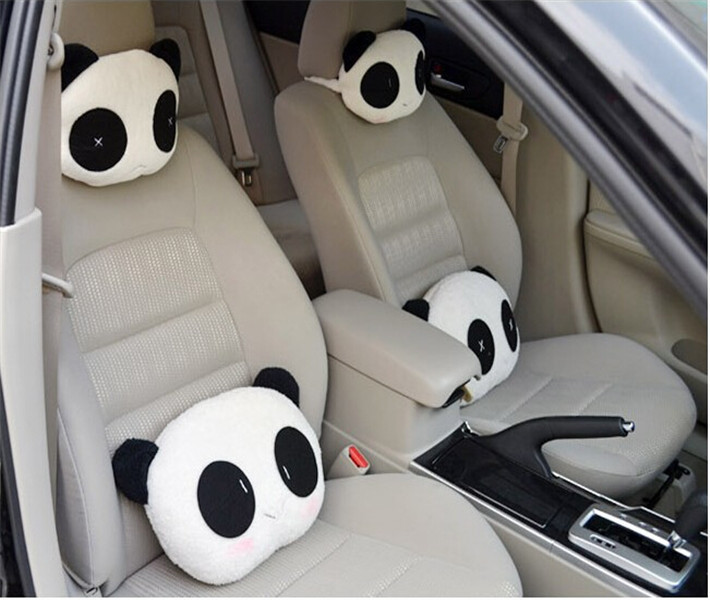 1pcs Cute Lovely Panda Pattern Car Seat Neck / Head Pillow Soft Back Cushion headrest neck pillow Car Seat cover cute 1pair 33cm funny stitch lovely plush car soft headrest vehicle bone rest neck pillow stuffed toy