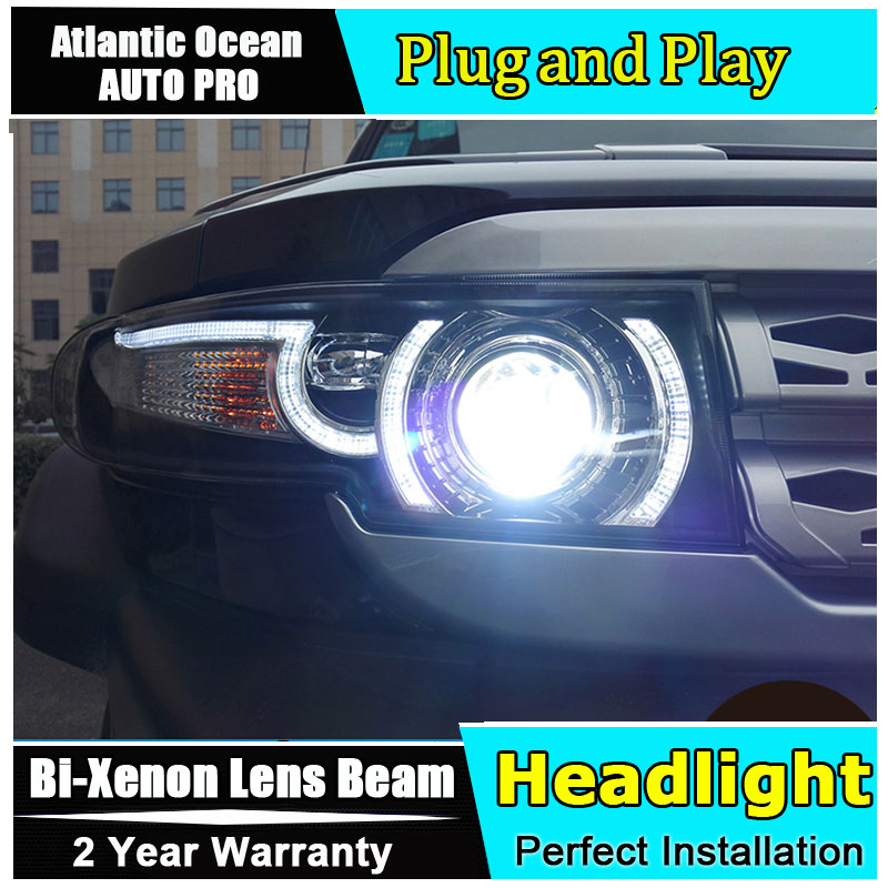 Car Styling For Toyota FJ Cruiser headlights 2006-2015 FJ150 Headlight+Grille Angel eyes led drl HID KIT Bi-Xenon Lens low beam hireno headlamp for 2003 2009 toyota land cruiser prado headlight assembly led drl angel lens double beam hid xenon 2pcs