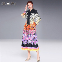 2019 new retro floral print tie with butterfly tie and waist-slim long-sleeved dress random floral print self tie design dress