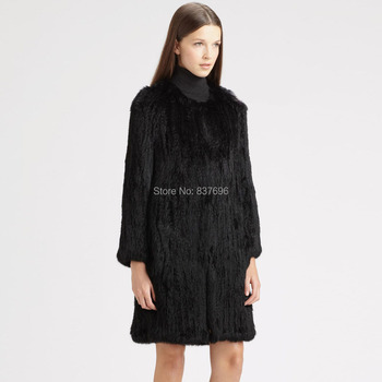 Free Shipping Free Shipping Really Rabbit Fur Hand Knitted  Coat  Ladies  Fur Coat  NC01