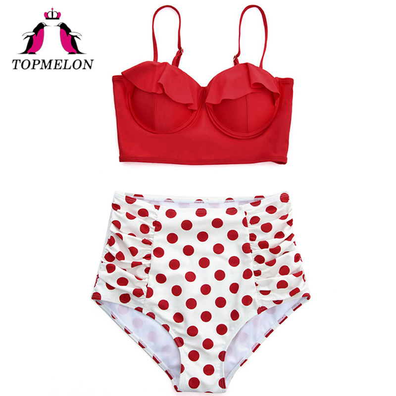 TOPMELON Bikini Swimsuit Women Sexy High Waist Push Up Plus Size Maillot Print Beachwear Bathing Suit Sexy Bikini Swimwear Women ningfein new plus size bikini set women swimwear sexy swimsuit floral striped print high waist bikini 2018 bathing suit swimwear