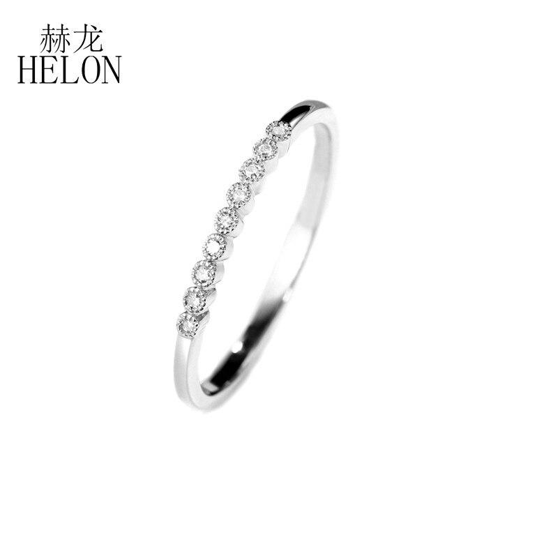 HELON moissanite pierścionek ze srebra próby 925 biżuteria VVS/kolor FG pozytywny Test moissanite diament pierścionek zaręczynowy obrączka kobiety w Pierścionki od Biżuteria i akcesoria na  Grupa 3