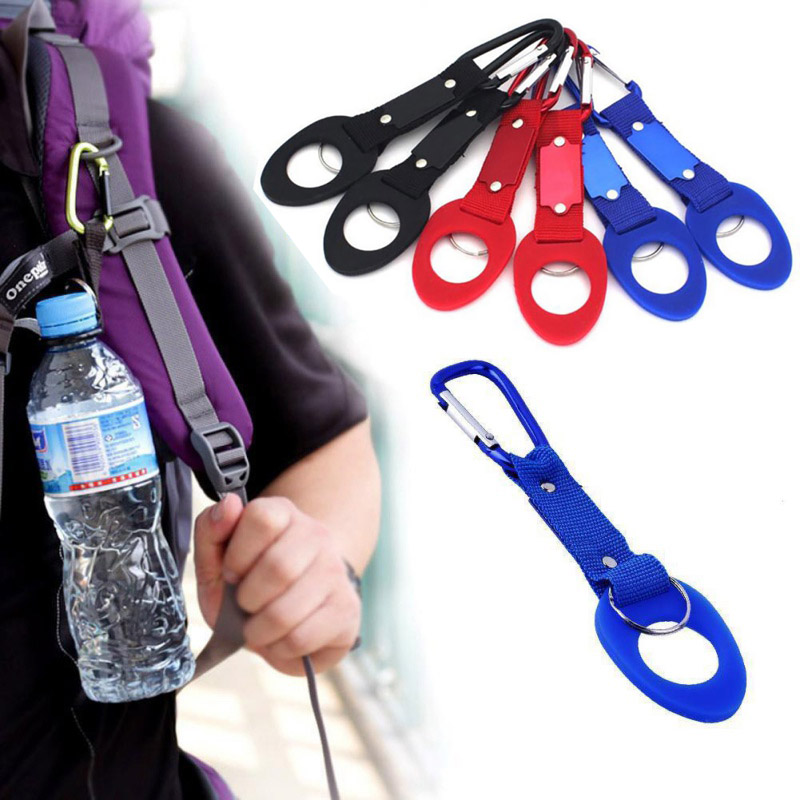 Portable Carabiner Silicone Water Bottle Buckle Drink Buckle Hook Holder With D-Ring Hook For Camping Hiking Traveling