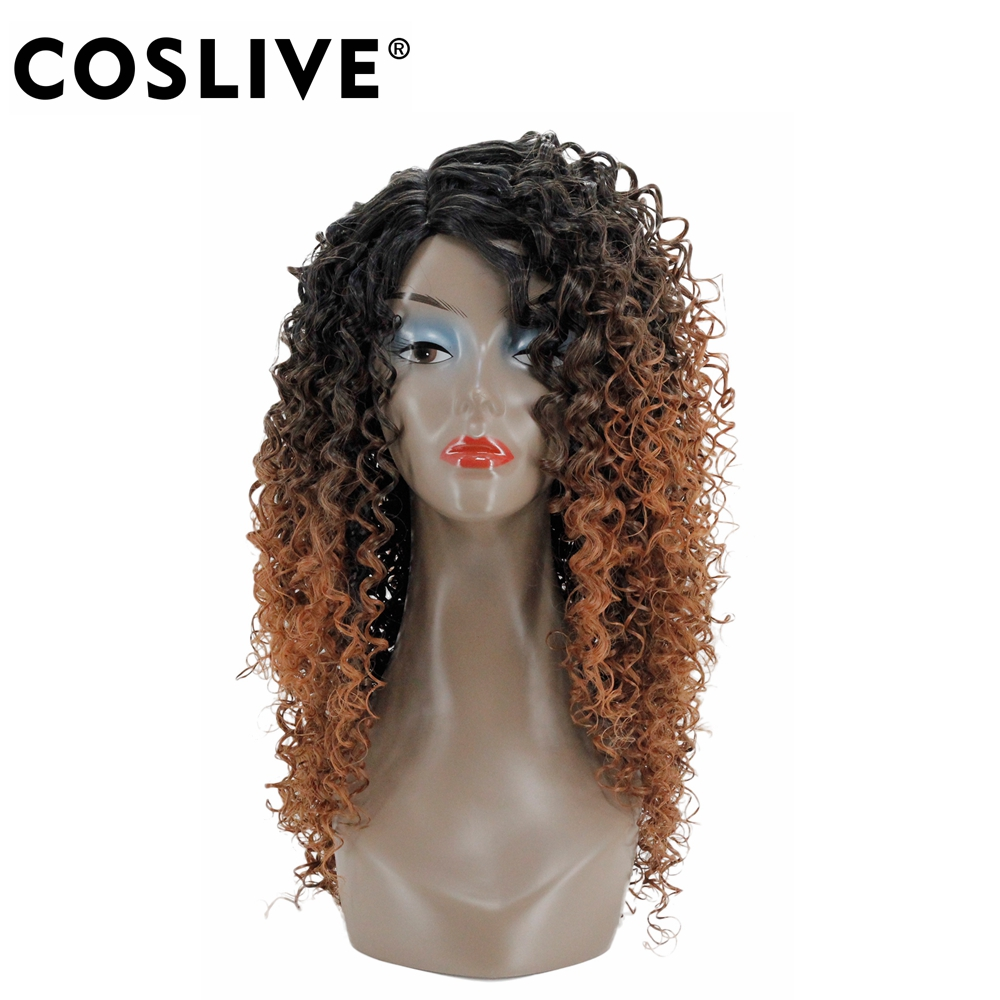 Coslive Curly Fashion Cosplay Hair for Woman Long Kinky Hair Jet Black&Brown Heat Resistance Fiber Halloween Cosplay Party Hair