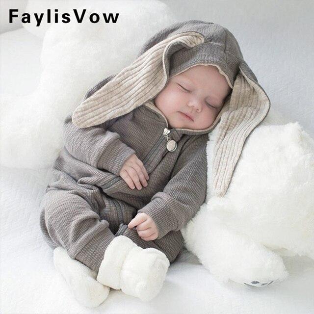dfc78c6eb Kids Warm Long Sleeve Bunny Style Pajamas Infant Cotton Zipper ...