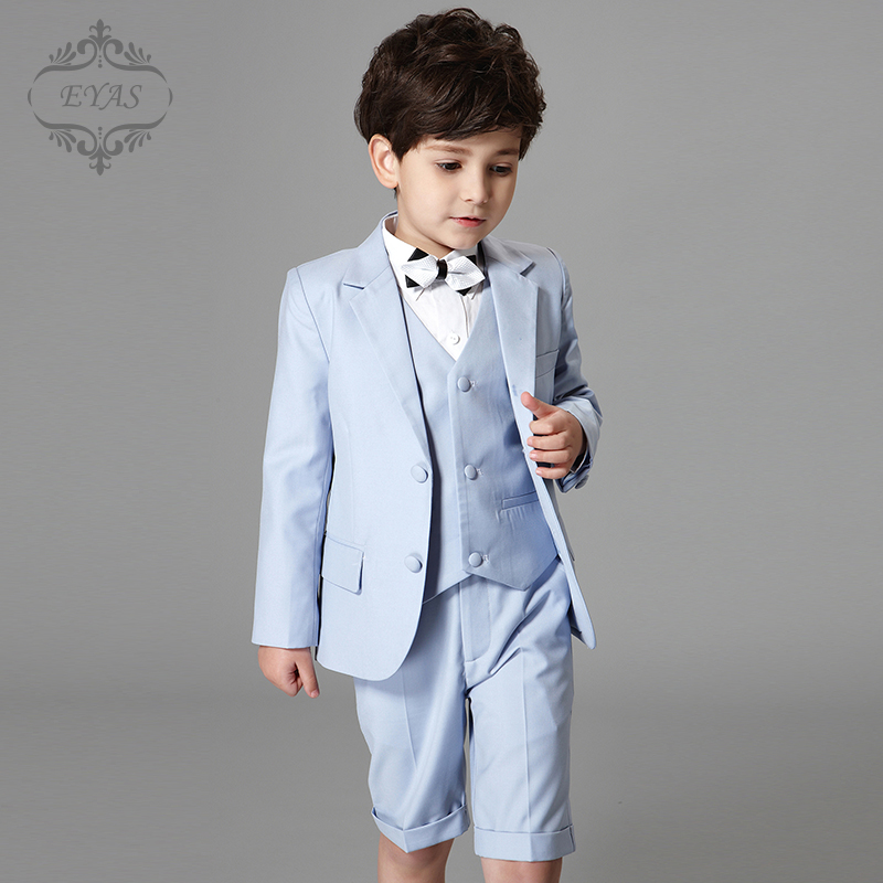 2017 Eyas Clothes Sets Spring Summer Autumn New Children Set Boys Blue Formal Suit with Vest and Bow Tie Ring Bearer A6128 2017 eyas kids clothes child clothing set long sleeve suit set white ring bearer formal 4pc with shirt bowtie a5103