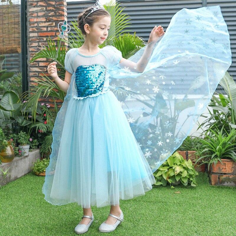 Summer Children Elsa Princess Dress Girls Halloween Snow Queen Cosplay Costume Kid performance Costume Birthday Party Long Dress