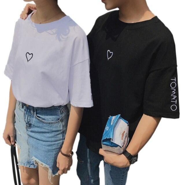 Ulzzang Женские повседневные летние влюбленные футболка с вышивкой 2018  корейские женские модные с коротким рукавом свободные 39f02667728c9