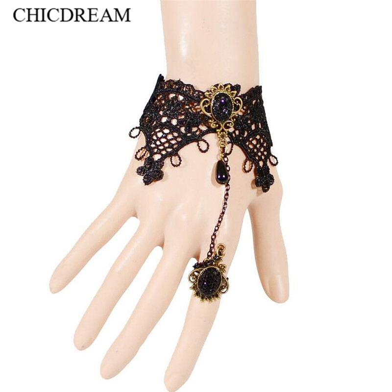 New Vintage Black Lace Bracelets For Women Metal Jewelry Gothic Style Handmade Black Rhinestone Lace Bracelet With Finger Circle