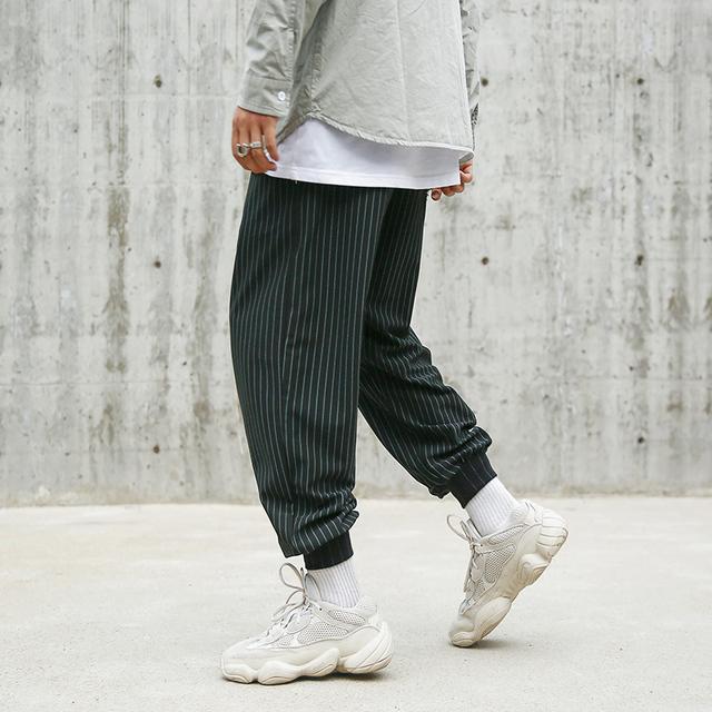 CHINISM Green Line Striped Men's Hip Hop Jogger Pants Man's Elastic Waist Brand Trousers Loose Harem Pants Fashion Streetwear