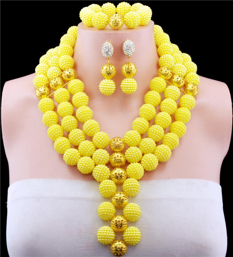 Nigerian Wedding African Beads Jewelry Set Yellow African Costume Jewelry Sets Handwork Balls Beads Necklace Sets Free Shipping