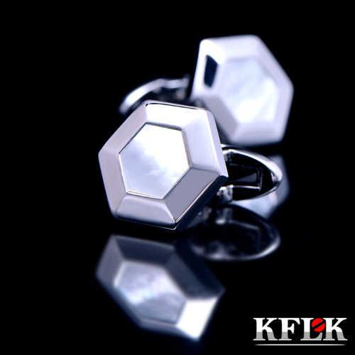 KFLK Luxury 2019 gemelos abotoaduras da camisa para homens Marca botões de punho abotoaduras Shell Hexágono Alta Qualidade abotoaduras Jóias