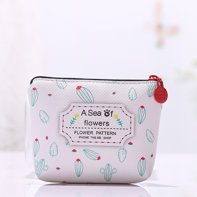 SUQI New Women Cartoon Coin Purse Zero Wallet Lady Fresh And Simple Leaf Small Wallet With Zipper Bag For Teenage Little Girl
