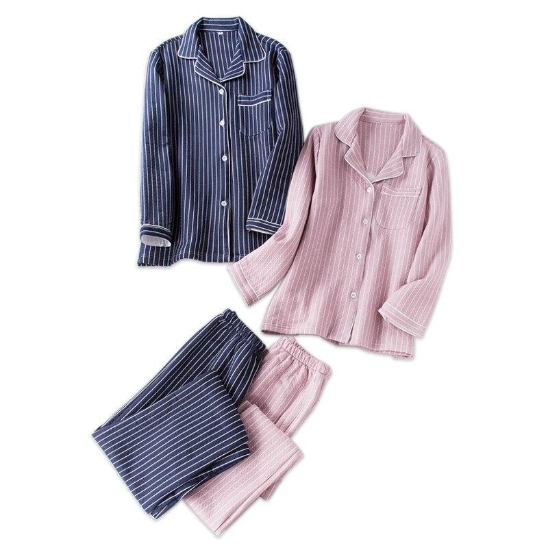 Fashion stripes couple scuba quilted   pajamas   women warm pyjamas Thicken 100% cotton long sleeve   pajama     set   winter leisure wear