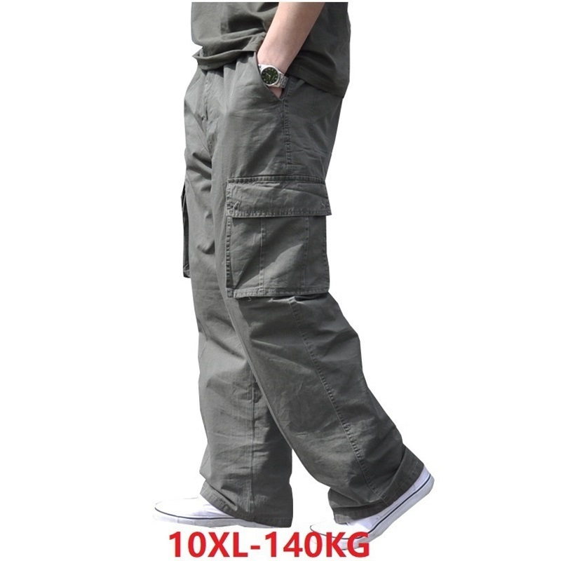 Large Size Men Cargo Cotton Pants Pocket Big 8XL 10XL 9XL 140KG Loose Out Door Summer Casual Safari Style Pants Black 46 48 50