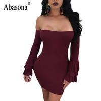 Abasona Ruffle Sleeve Women Dresses Autumn Winter Black Red Bodycon Pencil Dress Off Shoulder Plus Size