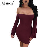 Abasona Ruffle Sleeve Women Dresses Autumn Winter Black Red Bodycon Pencil Dress Off Shoulder Plus Size