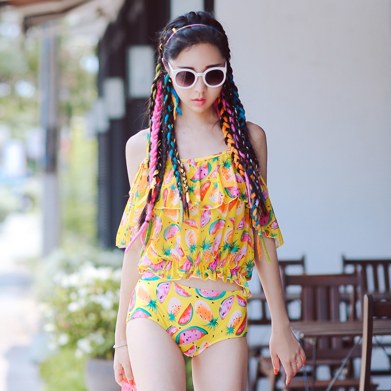 ФОТО STAR MENG swimsuit female  2016 new  printing steel supporting four pieces of sweet and sexy bikinis