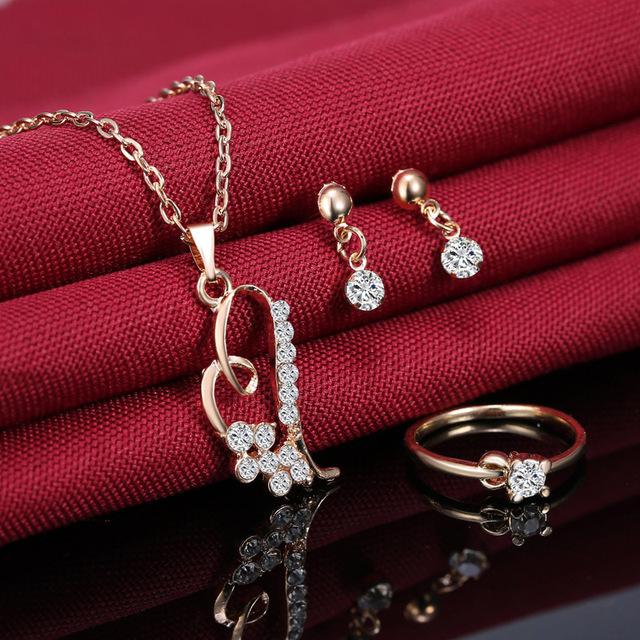 Romantic Heart Pendant Jewelry Set