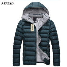 2017 Autumn Winter Parka Hooded Slim Fit Mens Coats and Jackets Solid Casual Warm Cotton-Padded Mens Jacket Detachable Cap