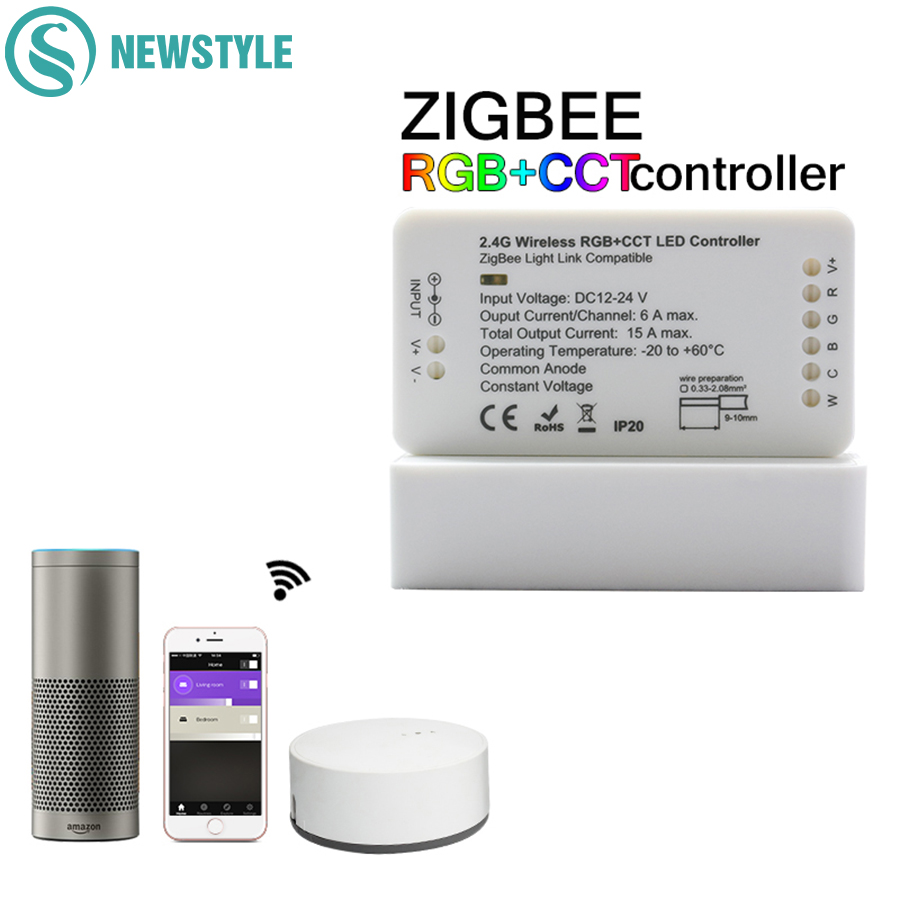 ZIGBEE LED Controller Echo Hue Lightify Tradfri Compatible Smart LED Controller WW/CW RGB CCT LED Strip Controller APP Control home smart rgb rgbw zigbee led strip controller zigbee app control zll light hue compatible with echo plus osram lightify wifi