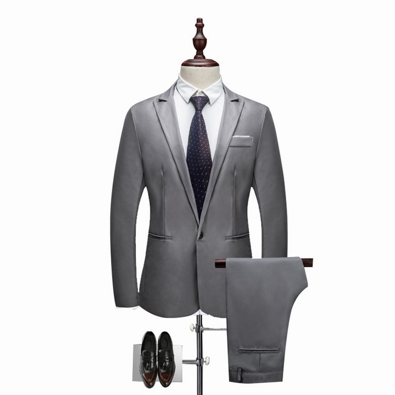 Oeak Pants-Set Blazer Wedding-Suits Formal Brand 2pieces Business Slim Male Plus-Size