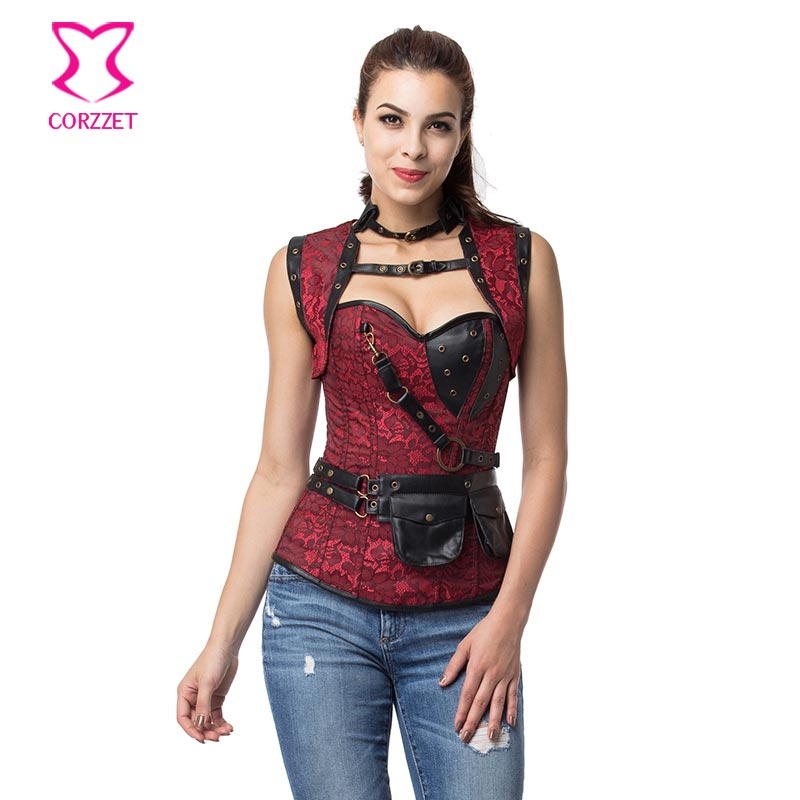 Red/Black Overbust Steel Boned   Corsets   And   Bustiers   Gothic   Corset   Steampunk Plus Size Sexy Burlesque Costumes With Jacket S-6XL
