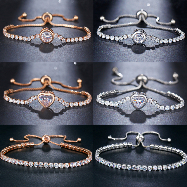 17KM New Round Tennis For Women Rose Gold Silver Color Cubic Zirconia Charm Bracelets 2