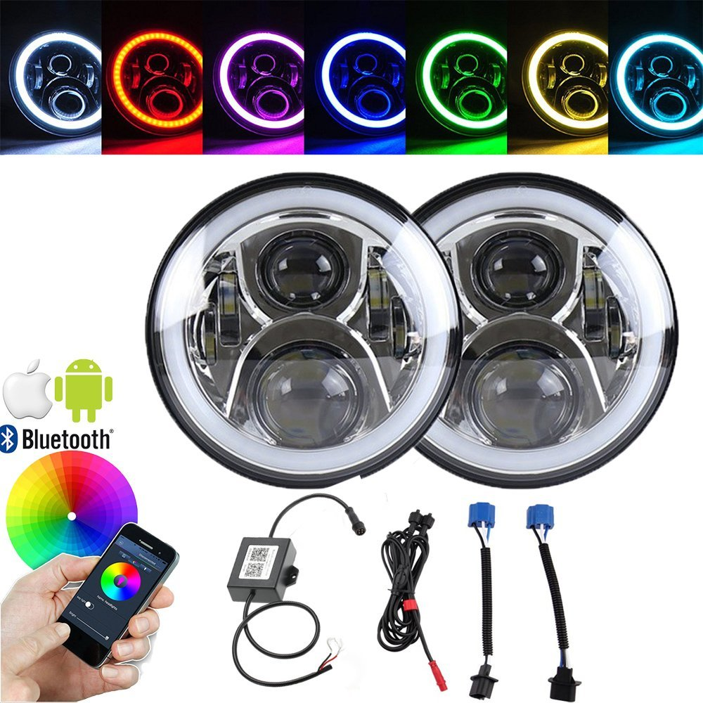 Bluetooth control 50W 7 inch RGB Halo Rings for Jeep Wrangler Hummer H1 H2 led headlight 7'' led Color Changing Angel eyes lamps