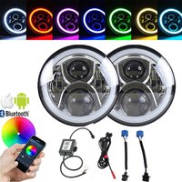 Bluetooth Control 50W 7 Inch RGB Halo Rings For Jeep Wrangler Hummer H1 H2 Led Headlight