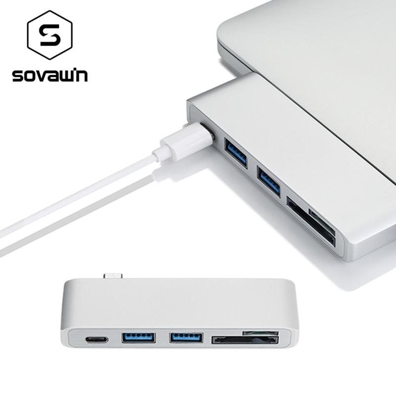 Sovawin 5 in 1 usb-c USB 3.0 Hub Multi Type c Spliter Adapter usb3.0 Card Reader for Macbook Pro 2015 2016 for imac 5GBPS/s 668 usb 3 1 type c card reader
