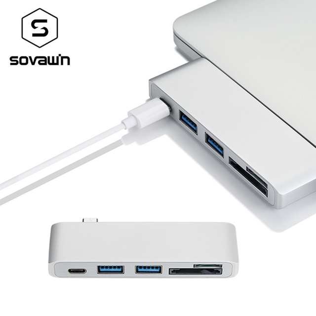 Sovawin 5 in 1 usb-c USB 3.0 Hub Multi Type c Spliter Adapter usb3.0 Card Reader for Macbook Pro 2015 2016 for imac 5GBPS/s