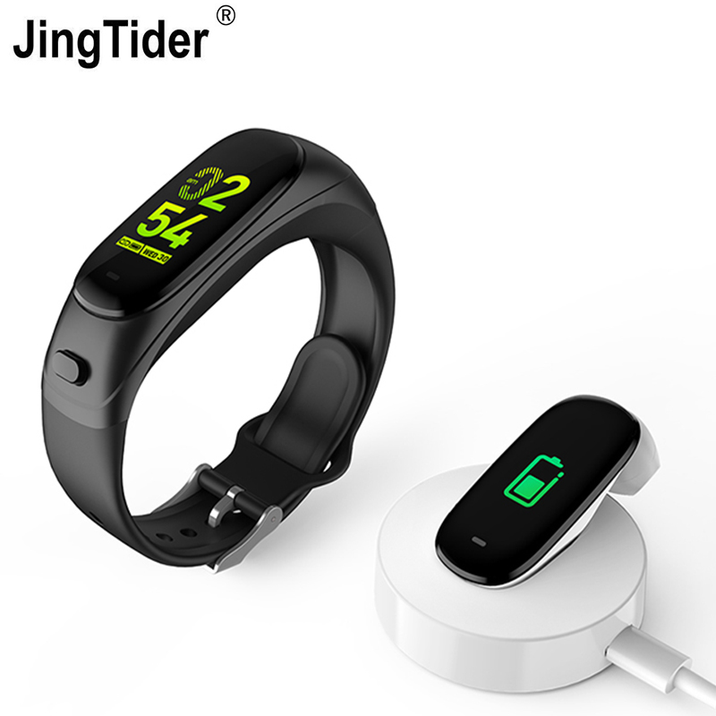 V08S Color Screen Smart Bracelet Bluetooth Headset 2 in 1 Wristband Heart Rate Blood Pressure Monitor
