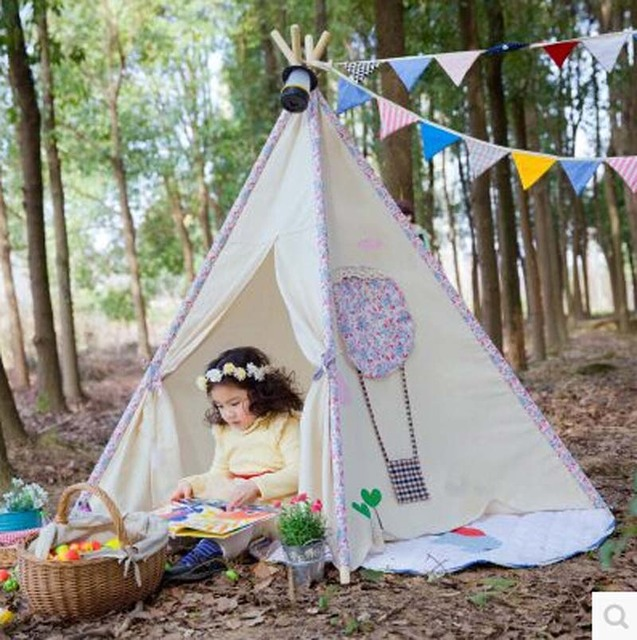 Kids Teepee Tent play house in pink flower Canvas Teepee and Wooden Poles Great Gift Idea & Kids Teepee Tent play house in pink flower Canvas Teepee and ...