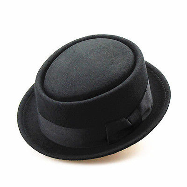 ed05b2db Fashion Unisex Wool Felt Pork Pie Men curled edg cap European American flat  caps circular top hats Fedoras chapeu fedora hat-in Men's Sun Hats from  Apparel ...