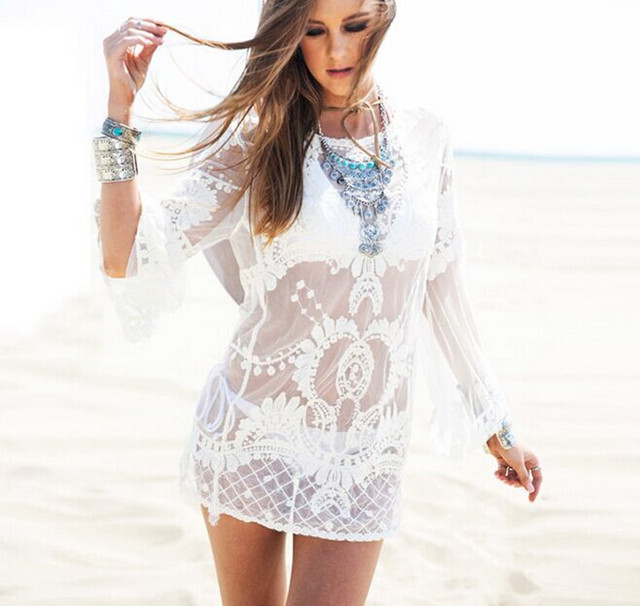 2cd240e3abe42 New Latest Lace Sheer Women s Swimwear Cover-Ups Crochet White Tunic Swim  Cover Up Sexy Beach Top Blouse