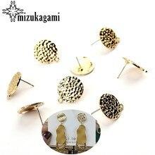 Boucles d'oreilles en alliage de Zinc, 10 pièces/lot, boucles d'oreilles rondes en métal doré, ondulation, connecteur pour bricolage, accessoires de fabrication de bijoux