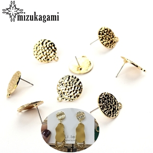 10pcs/lot Zinc Alloy Stud Earrings Round Gold Metal Round Ripple Earrings Connector For DIY Earrings Jewelry Making Accessories