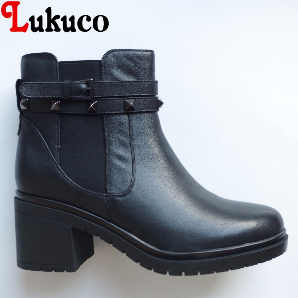 Lukuco pure color women ankle boots microfiber made rivet and buckle design med hoof heel zip shoes with short plush inside lukuco pure color women mid calf boots microfiber made buckle design low hoof heel zip shoes with short plush inside