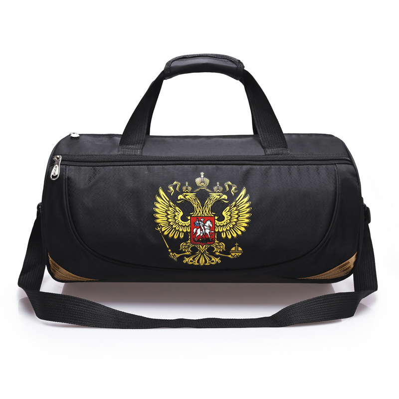 LEZAIJIONGTU Quality  Waterproof Sports Bag Training Gym Bag Men Women Fitness Bags Travel Shoulder Handbag Russian Emblem