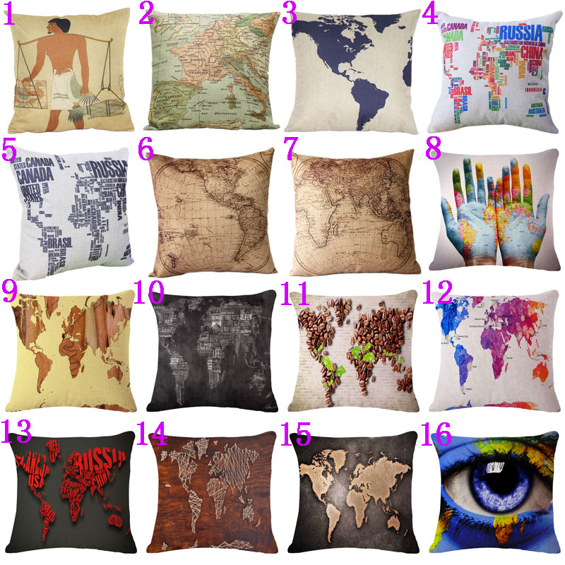 Vintage and Colorful Cotton Linen Cushion Cover Pillowcase American European Map Pattern Waist Throw Pillow Cover