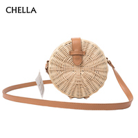 Women Straw Bag Bohemian Bali Rattan Beach Handbag Small Circle Lady Vintage Crossbody Handmade Kintted Shoulder