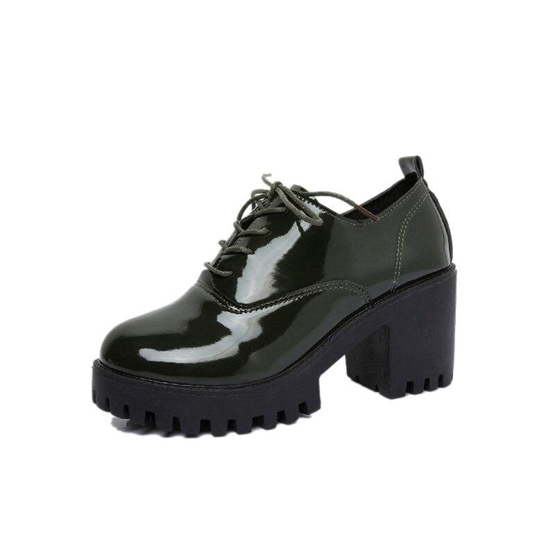 Up Vintage Talons 2 Bout Femme Verni Rond Cuir Lace Dames Bas Pour 1 En Plate À Oxford Automne forme 3 Épais Femmes Chaussures jpLzSUMGVq