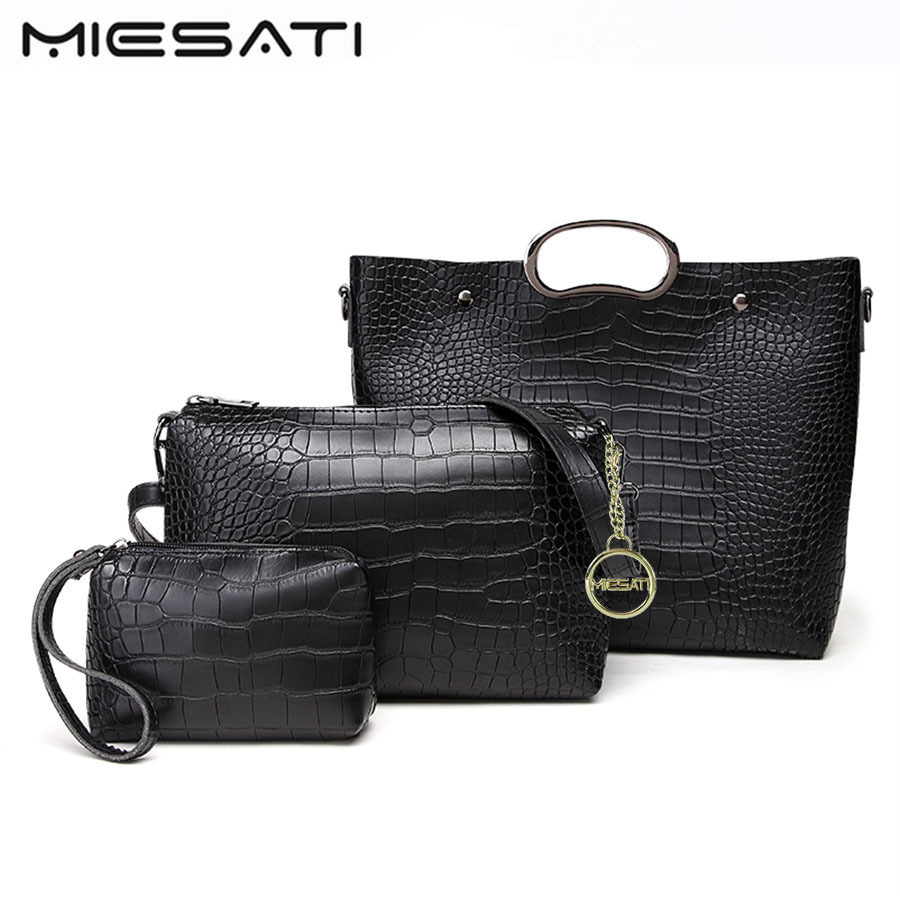 MIESATI High Quality PU Leather Women Bags 3pcs Set bags female Handbags Purse Cultch Composite Messenger bag Leisure Tote Sac kuluosidi 3 pcs set women tote bag high