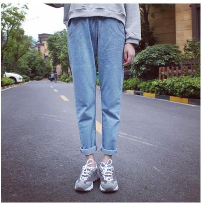 Alta cintura elástica pantalones vaqueros flojos pantalones harem denim blue jeans boyfriend capricho del cortocircuito el envío libre fresco lindo 2015