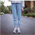 High waist elastic loose trousers jeans harem pants denim blue jeans boyfriend's caprice shorts free shipping cute cool 2015