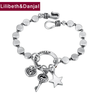 Survival Bracelet 100% 925 Sterling Silver Jewelry Women Fashion Star Key friendship Bracelet Bangle pulseras mujer moda 2019 B5