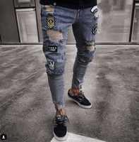 819d985c4b7 2018 мужские стильные рваные джинсы брюки байкерские узкие прямые потертые  джинсовые брюки Новые Модные узкие джинсы