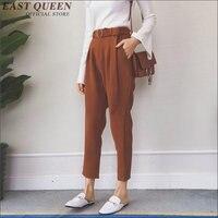 Na co dzień Kobiety Zamówienie 9 Punktów Korea Spodnie Ołówek Na Co Dzień Spodnie Kobiet Wiosna i Jesień Spodnie Z Pasem AA1498X