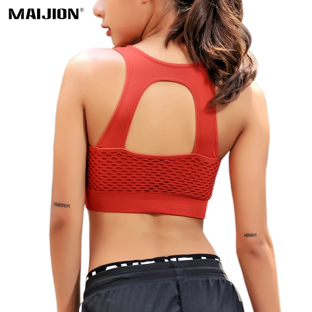 1d9751543c484 MAIJION Hollow Out Mesh Sports Bra Sexy Back Fitness Yoga Bras Tops  Shockproof Breathable Running Vest Gym Push Up Padded Bra